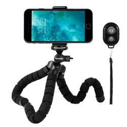 Phone Tripod, Rhodesy RT-02 Octopus Style Tripod Stand Holder with Bluetooth Remote for Camera, GoPro, iPhone, Smartphone with Clip