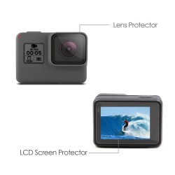 Rhodesy Pack of 3 LCD Display Screen Protector + Lens Protector for GoPro Hero 5 Action Camera